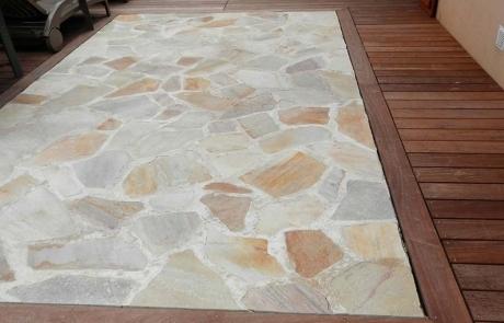 Terrasse mixte Opus Incertum et pierre naturelle